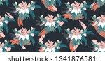tropical leaves seamless... | Shutterstock .eps vector #1341876581