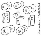 vector set of door knob | Shutterstock .eps vector #1341880244