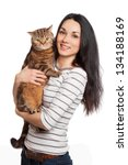 Stock photo beautiful smiling brunette girl and her ginger cat over white background 134188169