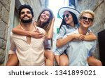 group of young friends hangout... | Shutterstock . vector #1341899021