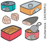 vector set of canned fish | Shutterstock .eps vector #1341900911