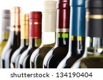 wine bottles in a row isolated... | Shutterstock . vector #134190404