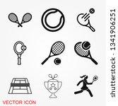 tennis icon vector sign symbol... | Shutterstock .eps vector #1341906251