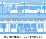 people in subway. man woman... | Shutterstock .eps vector #1341909314
