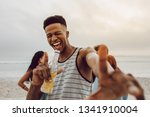 excited young african man with... | Shutterstock . vector #1341910004