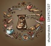a wreath of coffee  cinnamon ... | Shutterstock .eps vector #1341917237