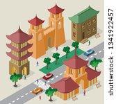vector cityscape in east asia... | Shutterstock .eps vector #1341922457