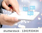 business woman touching the... | Shutterstock . vector #1341933434
