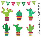 colorful cacti flowers vector... | Shutterstock .eps vector #1341965591