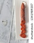 spanish chorizo sausage on the... | Shutterstock . vector #1341989207