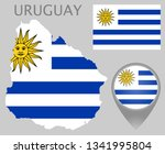colorful flag  map pointer and... | Shutterstock .eps vector #1341995804