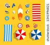 beach accessories on sand. set... | Shutterstock .eps vector #1341996821