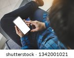 mockup image cell phone.man... | Shutterstock . vector #1342001021
