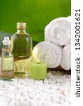 spa setting with rolled towel... | Shutterstock . vector #1342001621