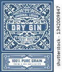 vintage gin label. vector... | Shutterstock .eps vector #1342009847