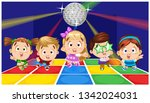 cute boys and girls dancing ... | Shutterstock .eps vector #1342024031