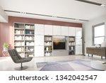 modern bright living room ... | Shutterstock . vector #1342042547