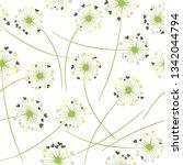 dandelion blowing plant vector... | Shutterstock .eps vector #1342044794