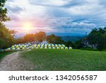 Row Of Tent Camping Place At...