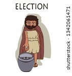 ancient greek man voting by... | Shutterstock .eps vector #1342061471