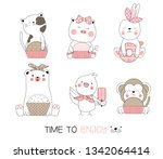 cute baby animal with candy... | Shutterstock .eps vector #1342064414