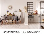 stylish open plan kitchen and... | Shutterstock . vector #1342093544
