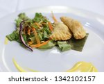 fried potato filled pastry with ... | Shutterstock . vector #1342102157