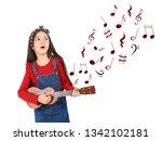 portrait of little girl playing ... | Shutterstock . vector #1342102181