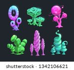 shiny fantasy alien plants.... | Shutterstock .eps vector #1342106621