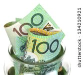 australian money in jar  over... | Shutterstock . vector #134210921