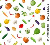 vegetable seamless pattern.... | Shutterstock .eps vector #1342113371