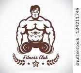 bodybuilder fitness model... | Shutterstock .eps vector #134211749
