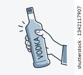 hand hold vodka bottle. male... | Shutterstock .eps vector #1342117907