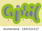 hand sketched month april in...   Shutterstock .eps vector #1342121117