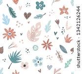 hand drawn seamless pattern... | Shutterstock .eps vector #1342126244