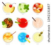 realistic cocktails top view... | Shutterstock .eps vector #1342131857