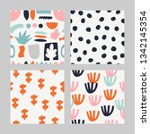 set with abstract pattern.... | Shutterstock .eps vector #1342145354