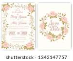 wedding invitation card floral... | Shutterstock .eps vector #1342147757