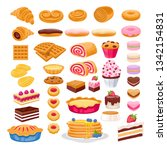 sweet pastry icons set. vector...   Shutterstock .eps vector #1342154831