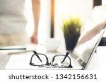 laptop computer with eye... | Shutterstock . vector #1342156631