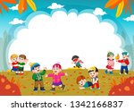 happy children playing with...   Shutterstock . vector #1342166837