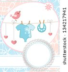 cute scrapbook for boy with... | Shutterstock .eps vector #134217941