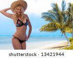 Gorgeous Blonde on a Gorgeous Tropical Beach. - stock photo