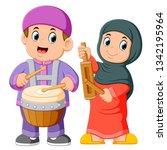 happy muslim kid cartoon... | Shutterstock .eps vector #1342195964