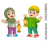moslem kids holding lantern    Shutterstock .eps vector #1342198001