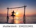 happy girl relaxing at the... | Shutterstock . vector #1342212401