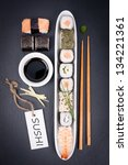 fresh sushi with label | Shutterstock . vector #134221361