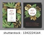 vector tropical leaves. gold...   Shutterstock .eps vector #1342224164