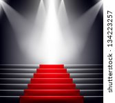 stairs covered with red carpet. ... | Shutterstock .eps vector #134223257