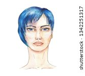 woman head with short haircut... | Shutterstock . vector #1342251317